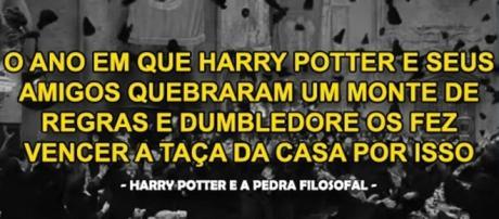 Como seriam os acontecimentos da série Harry Potter pela ótica de um estudante comum. Reprodução: Pinterest.