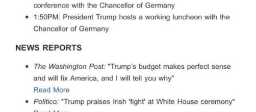 Fake news included in White House email. / Photo via @MrAusnadian, Twitter