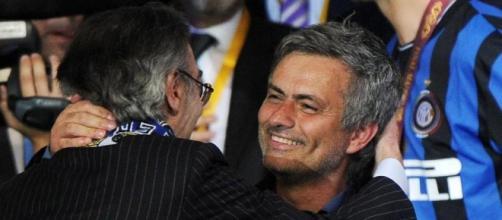 """Moratti e mourinho festeggiano la vittoria della Champions (fonte: La Stampa"""""""