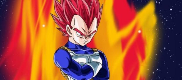 Vegeta in Super Saiyan God red form. / Photo via @TheRealAnimeFan, Twitter