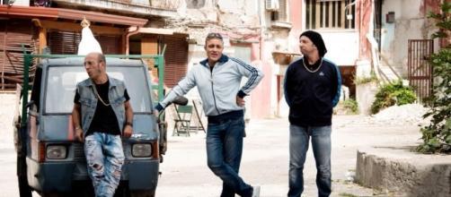 """Il trio durante una delle scene del film """"Gomorroide"""""""