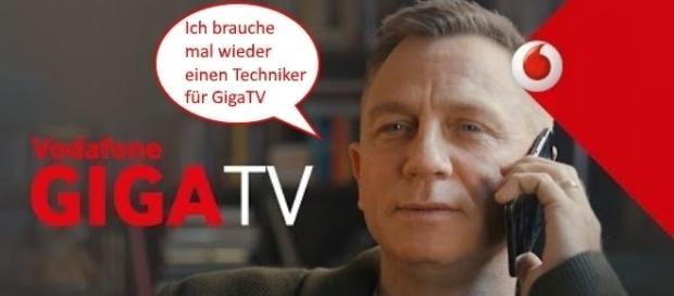 Hollywood-Star Daniel Craig ist Werbegesicht für Vodafone / Foto: Vodafone, Schriftzug Montage