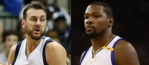 Andrew Bogut and Kevin Durant via Twitter, edited