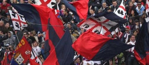 Bandiere nella curva del Cagliari Calcio