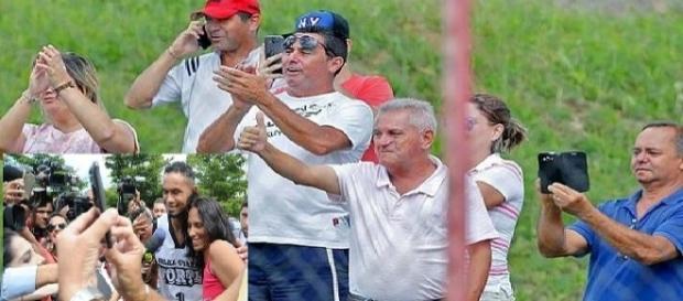 Foto montagem: torcedores aplaudem Bruno