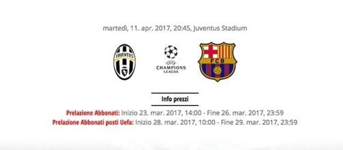 Biglietti per la partita Juventus-Barcellona