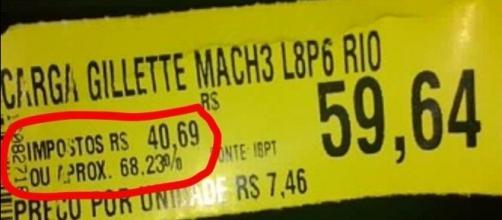 Etiqueta de produto mostra quanto é cobrado de imposto