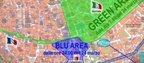 Trattati di Roma: la mappa delle zone blu e verde previste per il 25 marzo