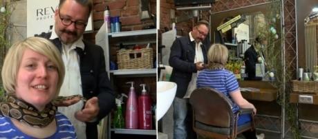 """Salão de beleza na Alemanha """"Contratou"""" cobra para realizar massagem nos clientes (Reprodução/YouTube)"""