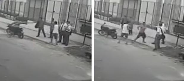 Na imagem é possível ver o momento em que os assaltantes abordam a vítima e tentam levar seus pertences pessoais.