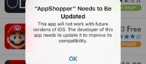 Apple, iOS 11: l'app deve essere aggiornata.