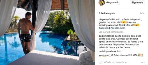 Diego Matamoros en el resort, de relax.