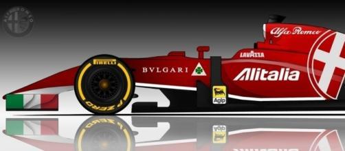 Maqueta de un posible diseño para Alfa Romeo en Fórmula 1