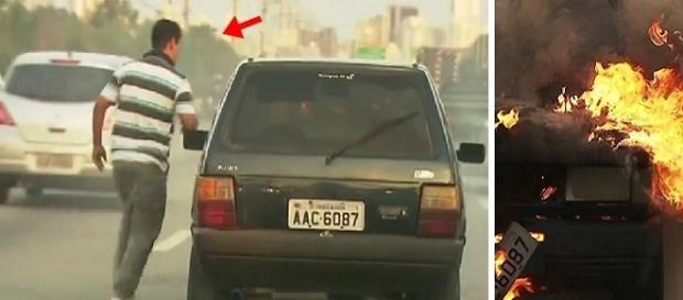 Nas imagens é possível ver o carro pegando fogo na Marginal.