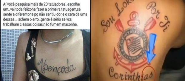 Tatuagens escritas de forma errada