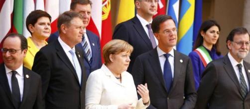 Los líderes europeos ayer en Roma.