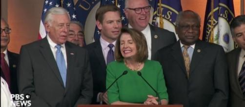 House Democrat leader Nancy Pelosi celebrate GOP failure to repeal ACA with party / Photo screenshot, PBS Newshour / Blasting News library