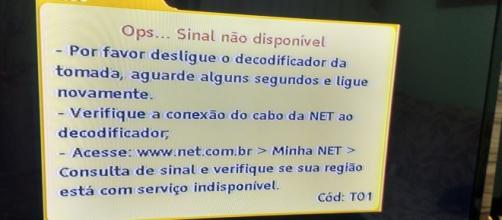 Mensagem da NET logo após interromper o sinal das emissoras