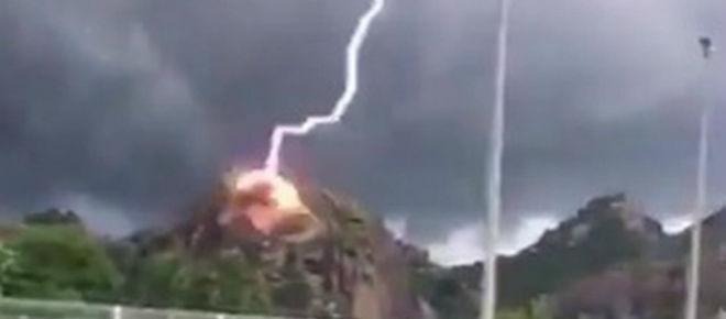 Raio impressionante explode rocha e redemoinho assusta moradores no Ceará