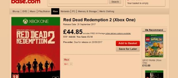 """Red Dead Redemption 2"" will be released on Xbox One and PS 4 on September 26 according to Base (base.com)"