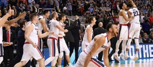 Gonzaga celebrates a one-sided win over Xavier. Photo: USA Today Sports
