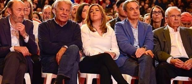 """La """"fila 1"""" de la presentación como aspirante a las primarias de Susana Díaz, este domingo en Madrid"""