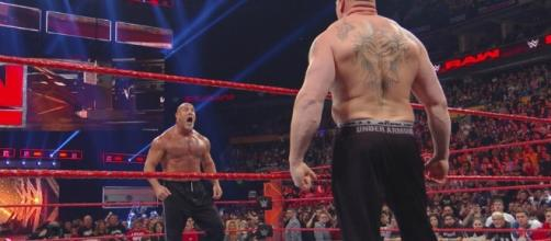 "Goldberg and Brock Lesnar met again on ""Monday Night Raw."" [Image via Blasting News image library/inquisitr.com]"