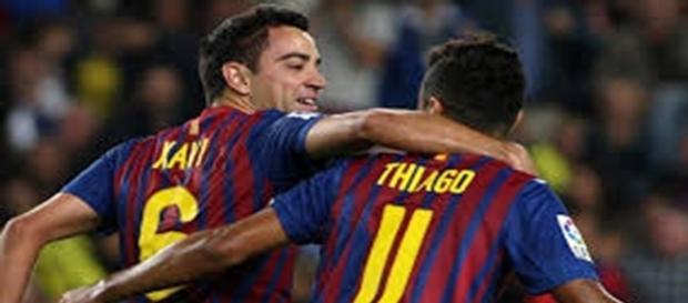 Xavi et Thiago Alcantara au Barça