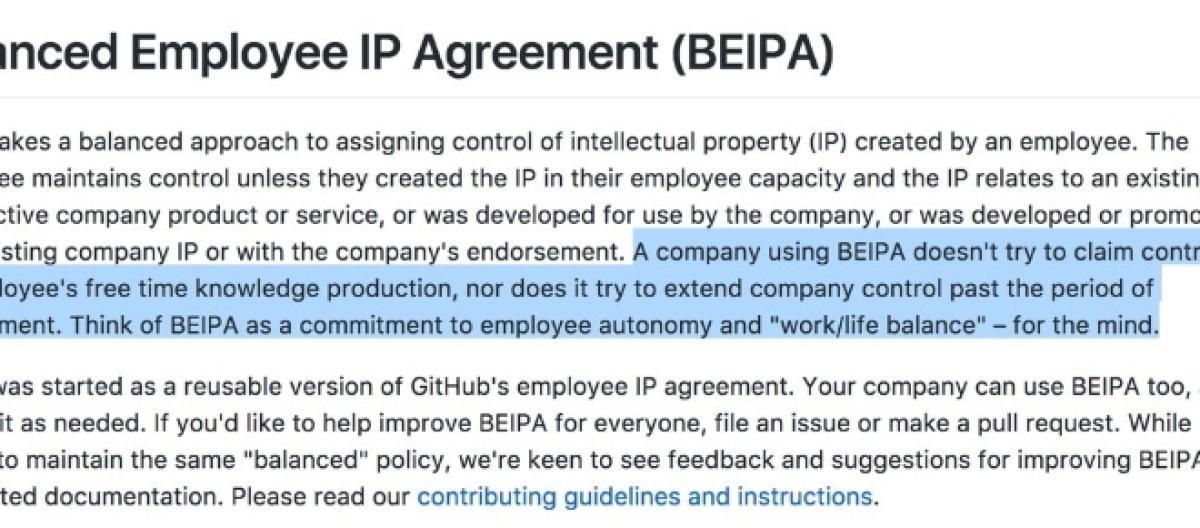 Github Proposes A Balanced Employee Ip Agreement In Awe Of Creative