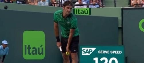 Federer serving against Bautista Agut, Tennis TV Youtube channel https://www.youtube.com/watch?v=b12_UcmjWNc