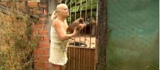 Dona Célia será despejada e precisa de ajuda para doar os cães (Foto: Reprodução/TV Record)