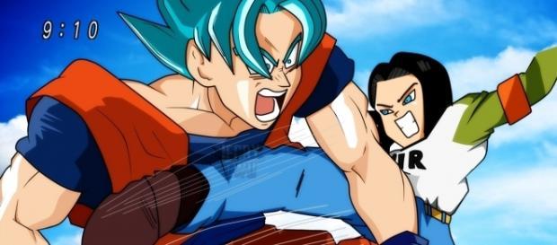 Androide 17 ataca a Goku en un entrenamiento de poder