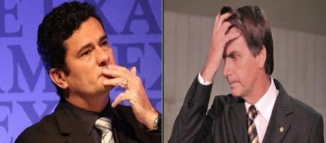 Sérgio Moro (à esquerda) não pareceu simpático aos olhos dos internautas em relação a Bolsonaro