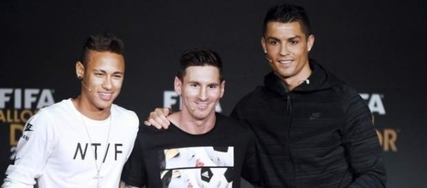 Neymar, Messi y Cristiano Ronaldo en la entrega del Balón de Oro