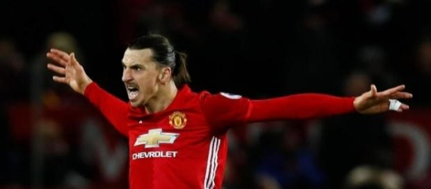 Zlatan Ibrahimovic scored his 27th goal of the season for Manchester United against Everton. Photo: The Sun