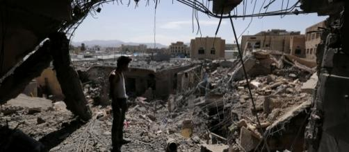 A house in Sana destroyed by a Saudi-led coalition airstrike last year. Photo via nytimes.com