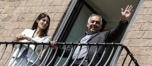 Il presidente della Roma Pallotta insieme al sindaco Virginia Raggi