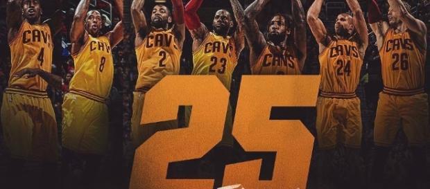 Cavs set NBA record with 25 threes. Pic via. Cavs.com