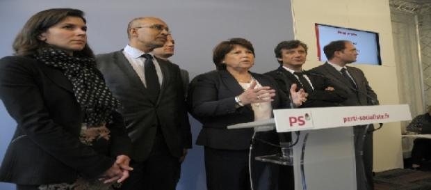 Le 22 mai 2012, Martine Aubry tient un point presse