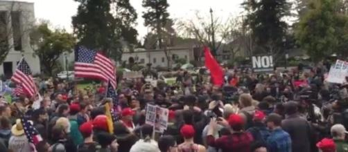 Donald Trump protests at UC Berkeley, via Twitter