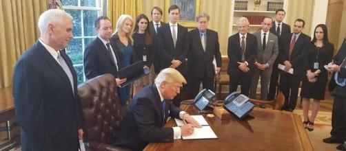 U.S. President Donald J. Trump authorizes the Dakota Access and Keystone XL pipelines in January (White House/Wikimedia Commons)