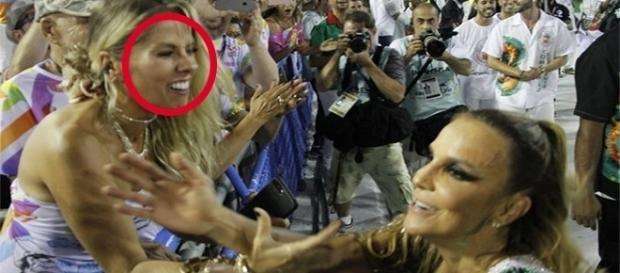 Ivete Sangalo não parou com Adriane Galisteu durante desfile