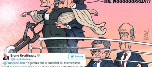 """Caricature de """"Monsieur Kak"""" pour L'Opinion. François Fillon dit s'appuyer sur le peuple (grossi au moins six fois par Bruno Retailleau)"""