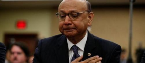 Father Khizr Khan who lost his son, U.S. Army Captain Humayun Khan in Iraq, discusses the Muslim refugee ban. Reuters/ via Kevin Lamarque Fair Use