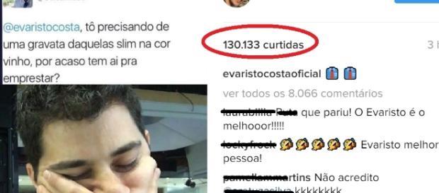Evaristo responde fã de forma inesperada até para o próprio internauta e viraliza.