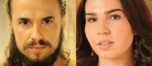 Isaque e Adélia na novela 'A Terra Prometida' (Divulgação/Record)