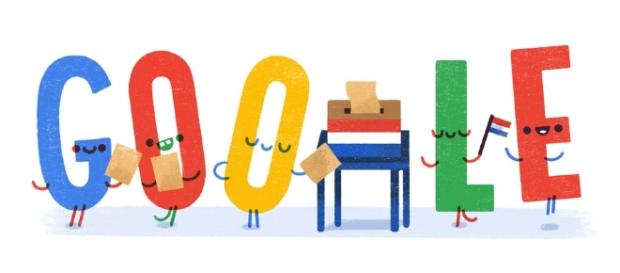 GOOGLE ADAPTS ITS DAILY LOGO TO THE ELECTIONS IN THE NL Image via Google