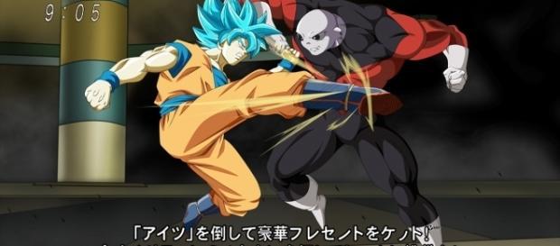 """arte de Goku y Jiren creado por el artista """"NekoAR""""."""