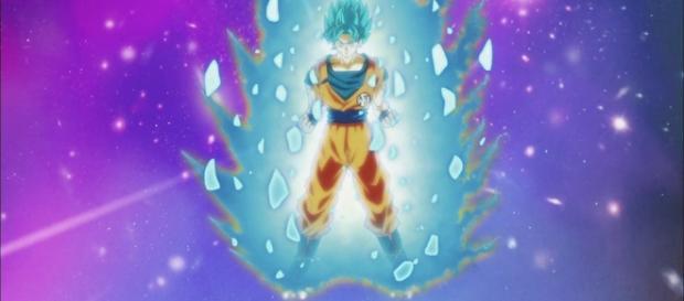 Goku transformándose en Super Saiyajin azul en el episodio 81.