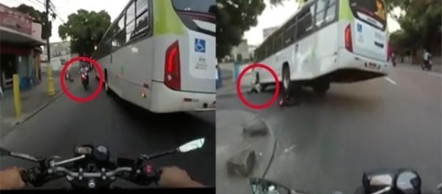 Roda de ônibus passa em cima de motoqueiro
